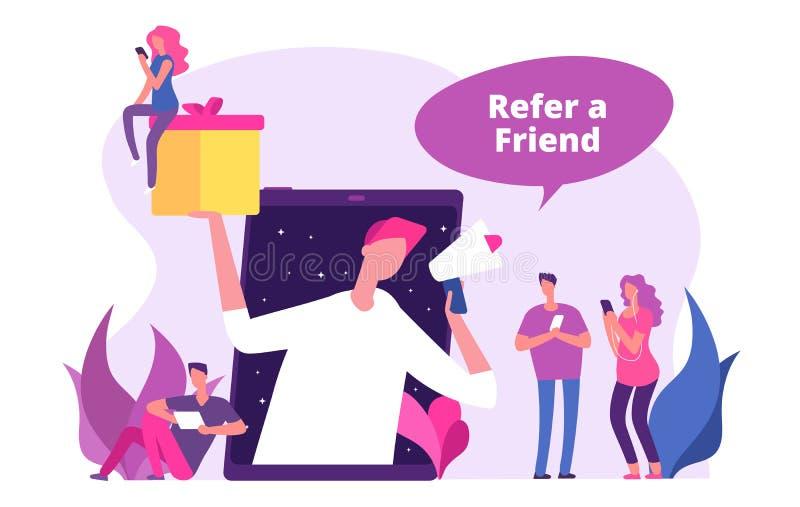 Consulte uma ilustração do vetor dos amigos O homem com megafone oferece presentes da referência ilustração stock