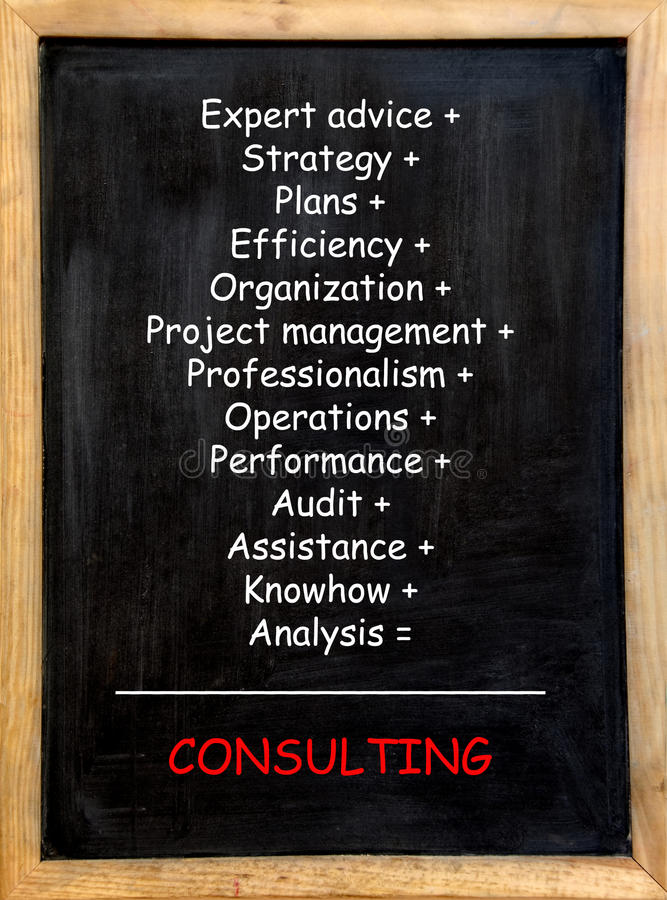 Consulting. Concept in a mathematical formula stock photo