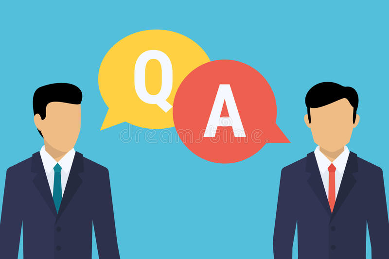 Consulting business advise. Businessman and consultant with speech bubbles and letters q and a stock illustration