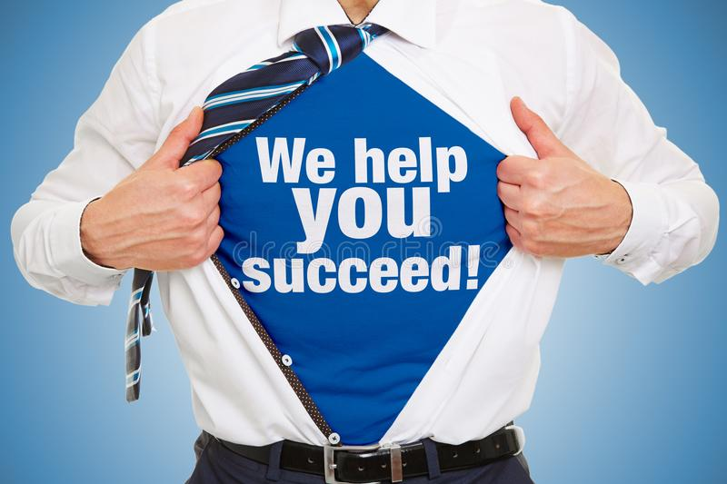 Consulting concept with slogan under business shirt stock photos