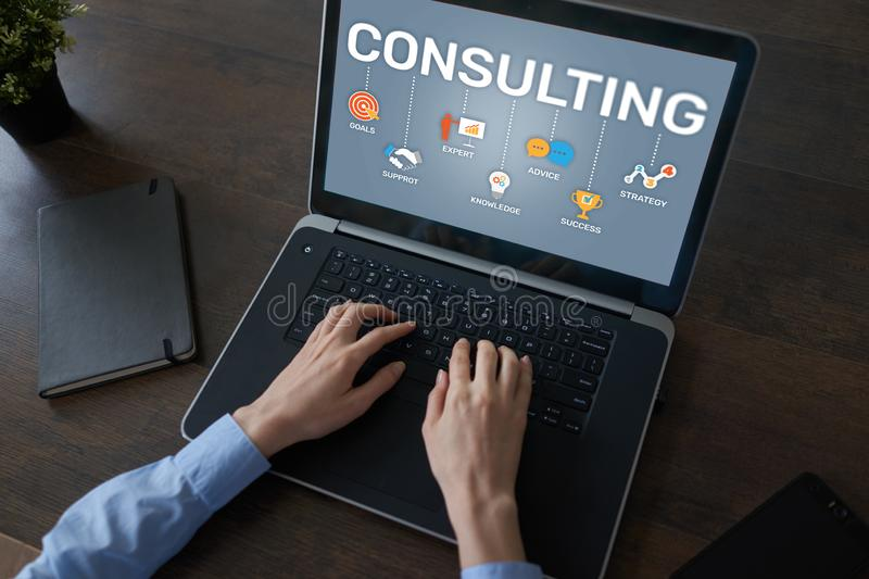 Consulting diagram on screen. Business Finance Internet Technology concept. Consulting diagram on screen. Business Finance Internet Technology concept royalty free stock photography