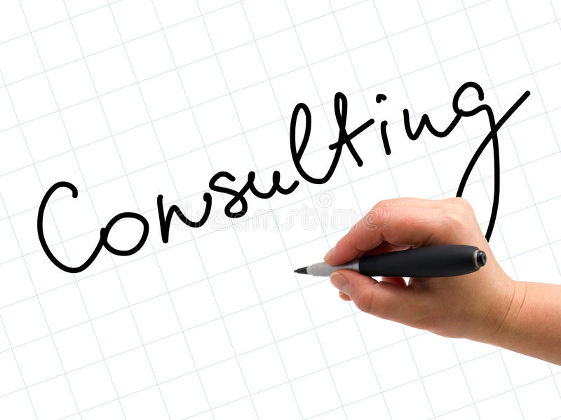 Consulting Handwritten. Illustration of the hand with a pen writing CONSULTING on the white paper background royalty free stock photo