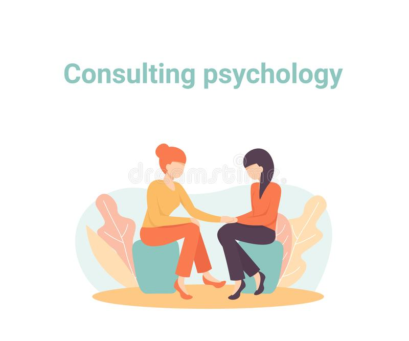 Consulting psychology session,  psychologist and patient royalty free illustration