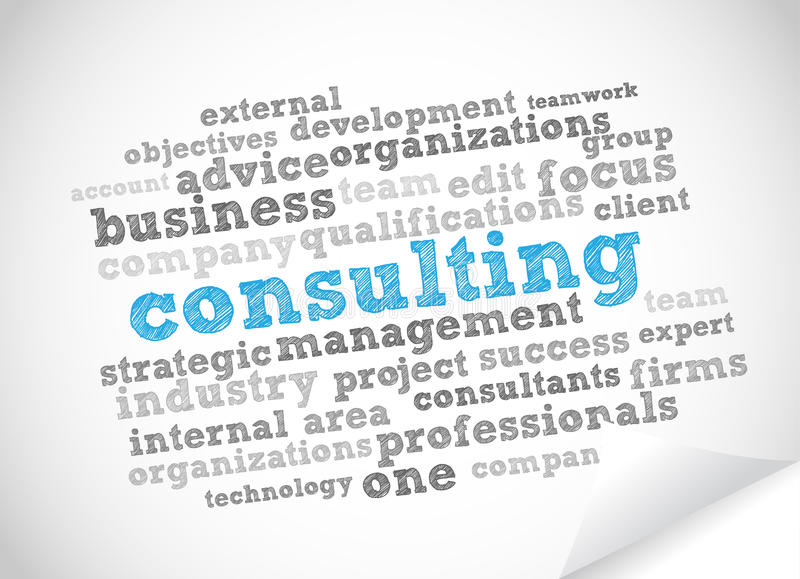 Consulting word cloud. Vector background