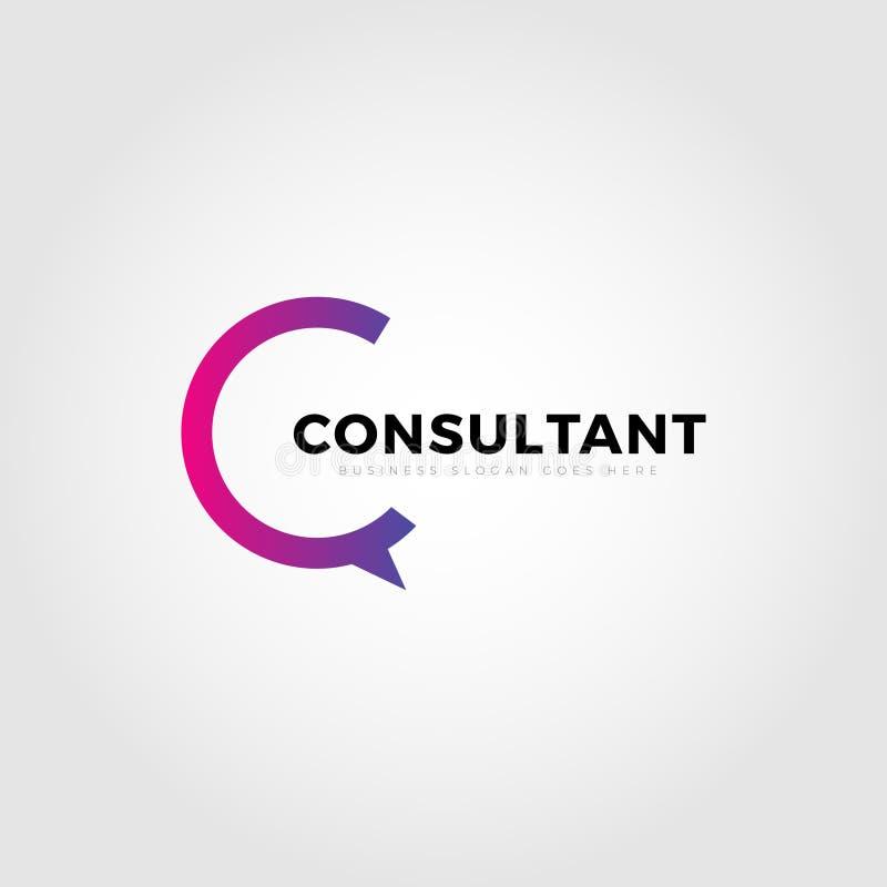 Consultor colorido Letter Type C Logo Template stock de ilustración