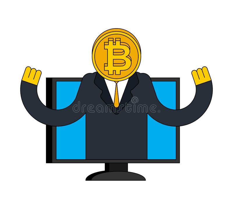 Consultor Crypto de Online del agente Bitcoin aconseja al cliente Cryptoc stock de ilustración