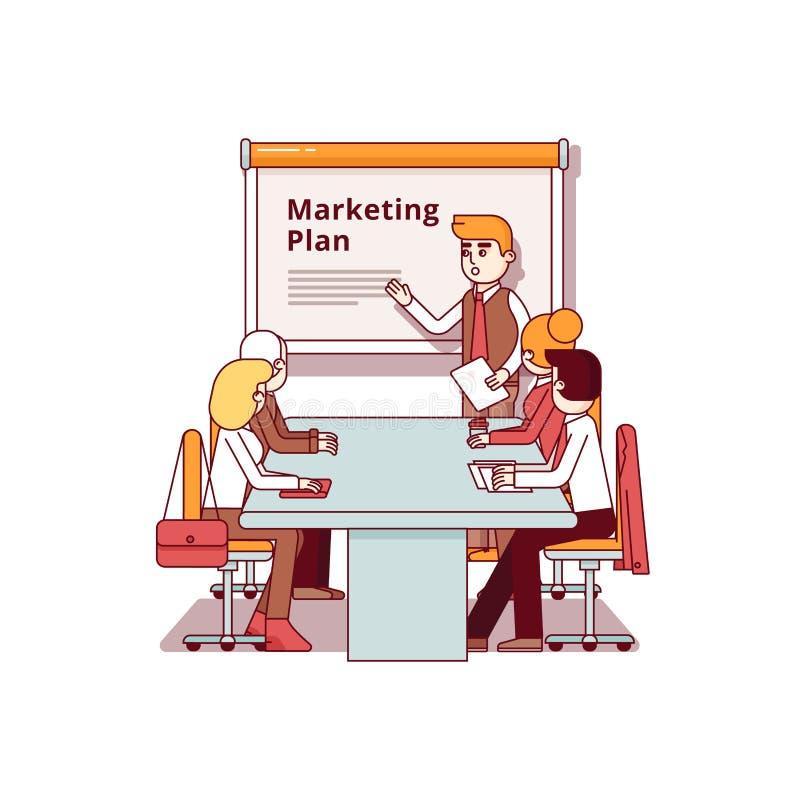Consultor de marketing profissional que dá um discurso ilustração royalty free