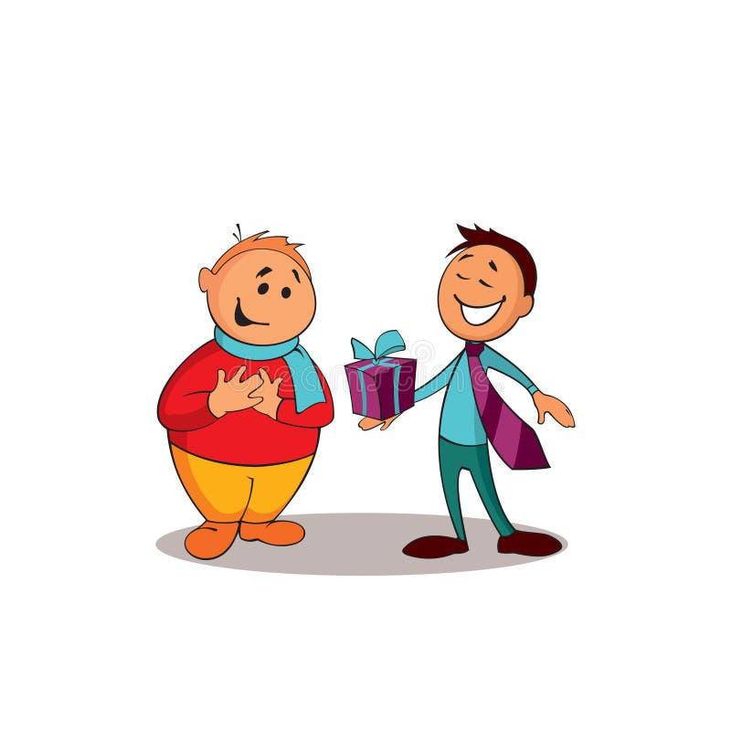 Consultor del encargado que presenta un regalo al cliente Uno de una serie de imágenes similares libre illustration