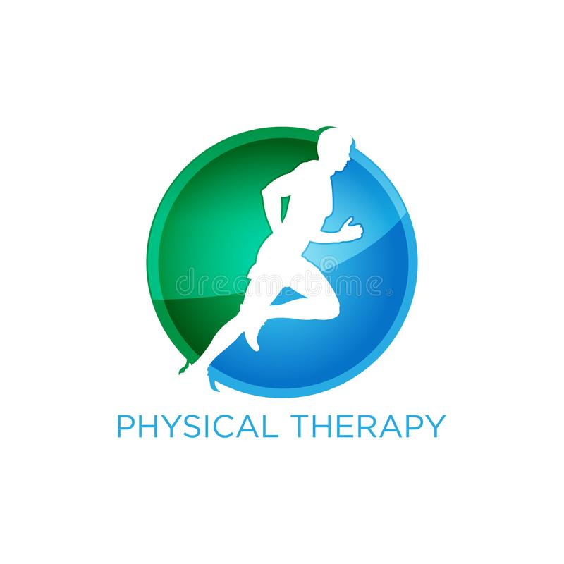Consultor del logotipo de la terapia física para la aptitud y la vida sana foto de archivo libre de regalías