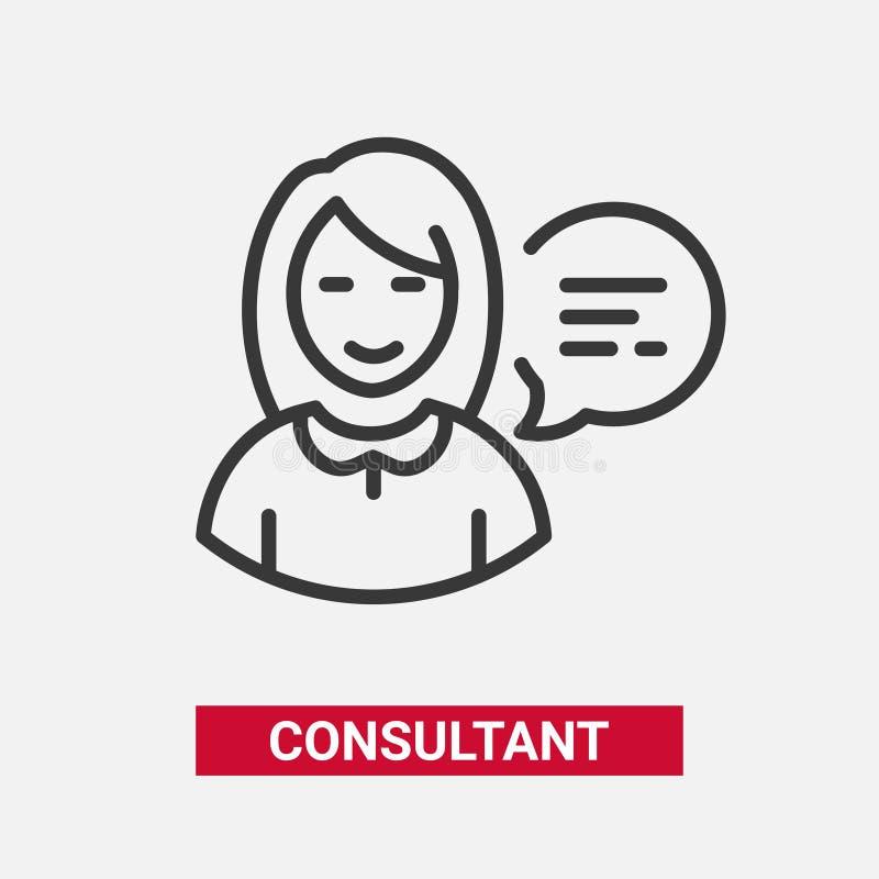 Consultor - línea moderna solo icono del vector del diseño libre illustration