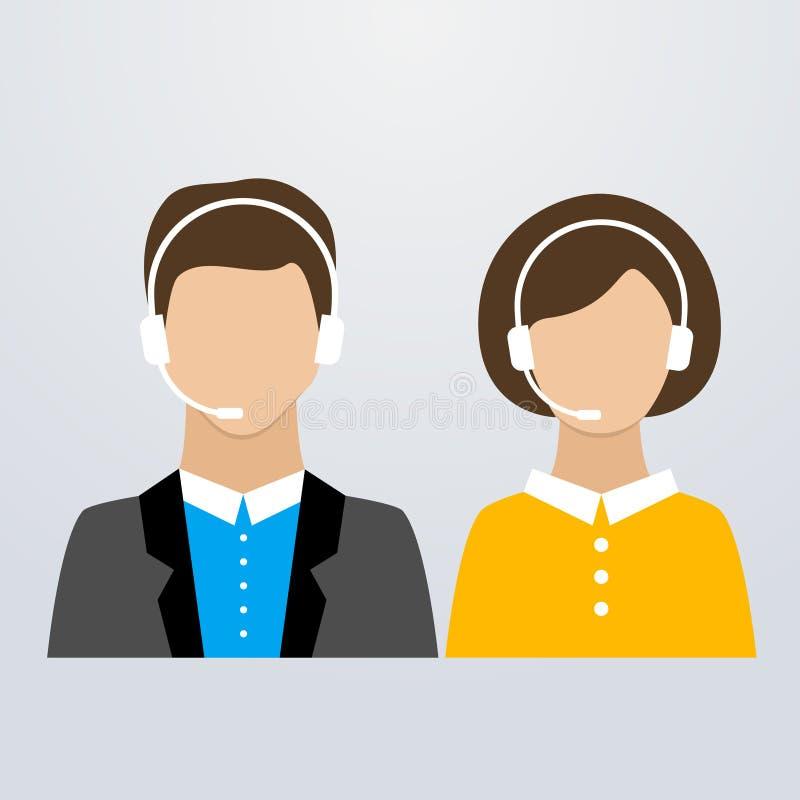 Consultores masculinos y femeninos del centro de atención telefónica stock de ilustración