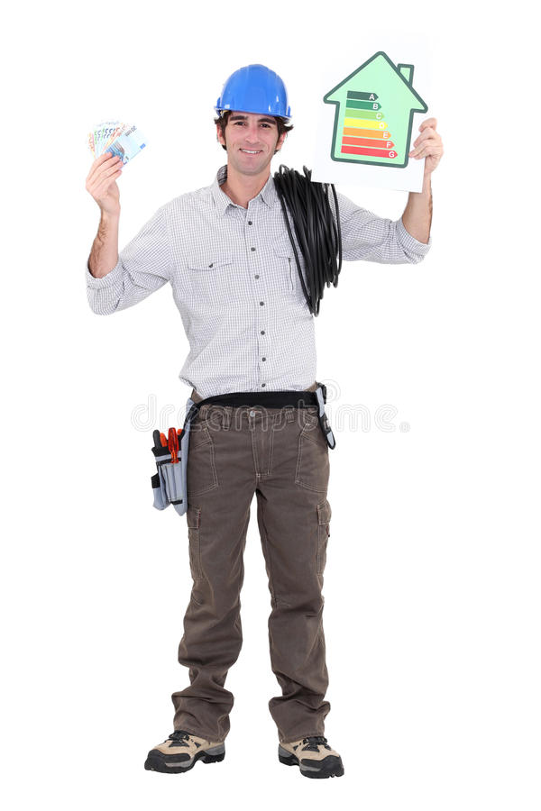 Consume less energy. Electrician teaching us to consume less energy stock image