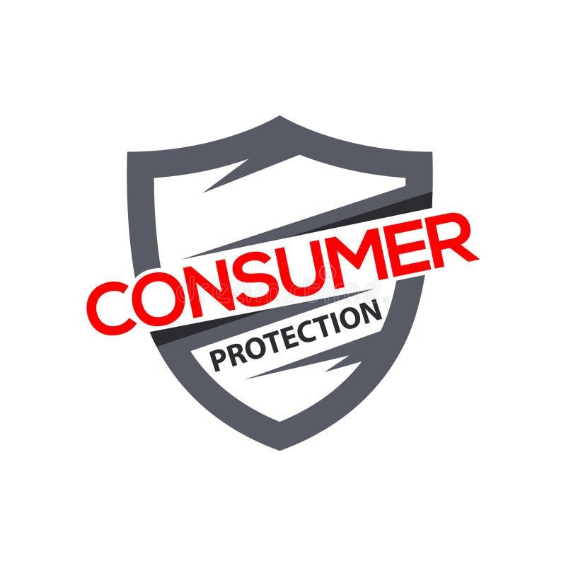 Consumentenbescherming met schild Embleemontwerp voor verzekering, bescherming en Internet vector illustratie