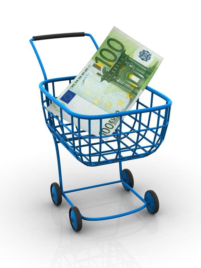 Consumer basket with euro royalty free illustration