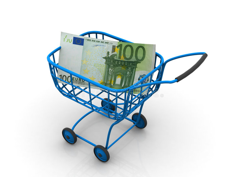Consumer Basket With Euro. 3d Royalty Free Stock Image