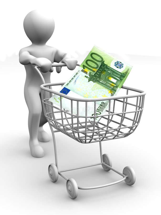 Download Consumer Basket And Euro. 3d Stock Illustration - Image: 7055580