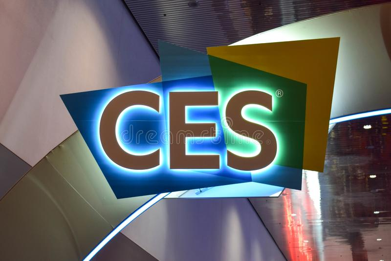 Consumer Electronics Show (CES) undertecknar in Las Vegas arkivbild