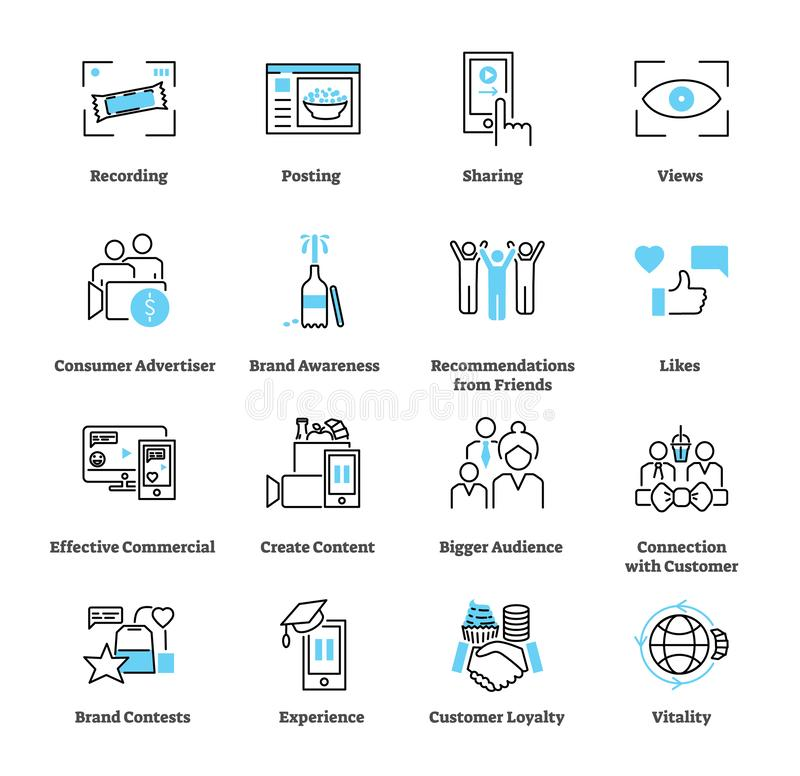 Consumer generated advertising icon collection set. Ad vector illustration. stock illustration