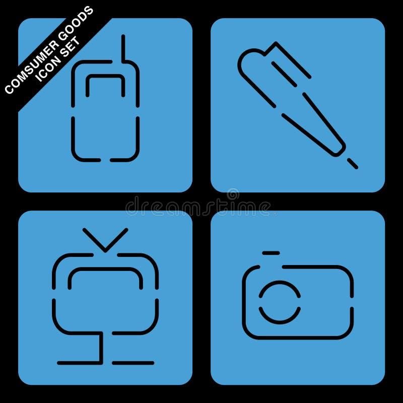 Consumer goods icon set. On black background royalty free illustration