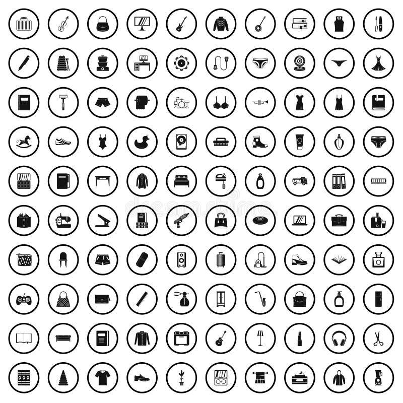 100 consumer goods icons set, simple style. 100 consumer goods icons set in simple style for any design vector illustration stock illustration