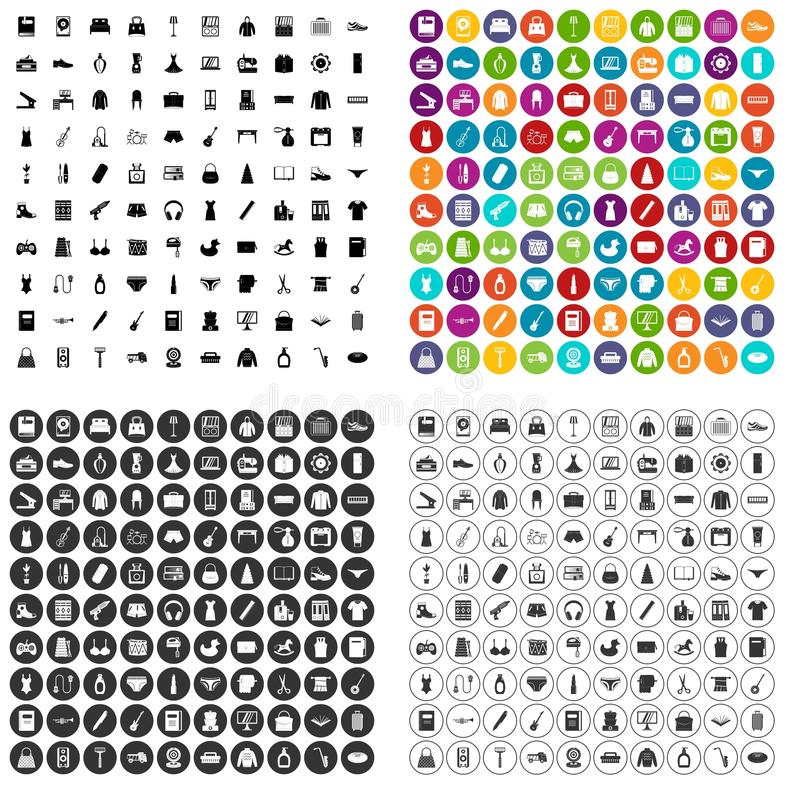 100 consumer goods icons set vector variant. 100 consumer goods icons set vector in 4 variant for any web design isolated on white royalty free illustration