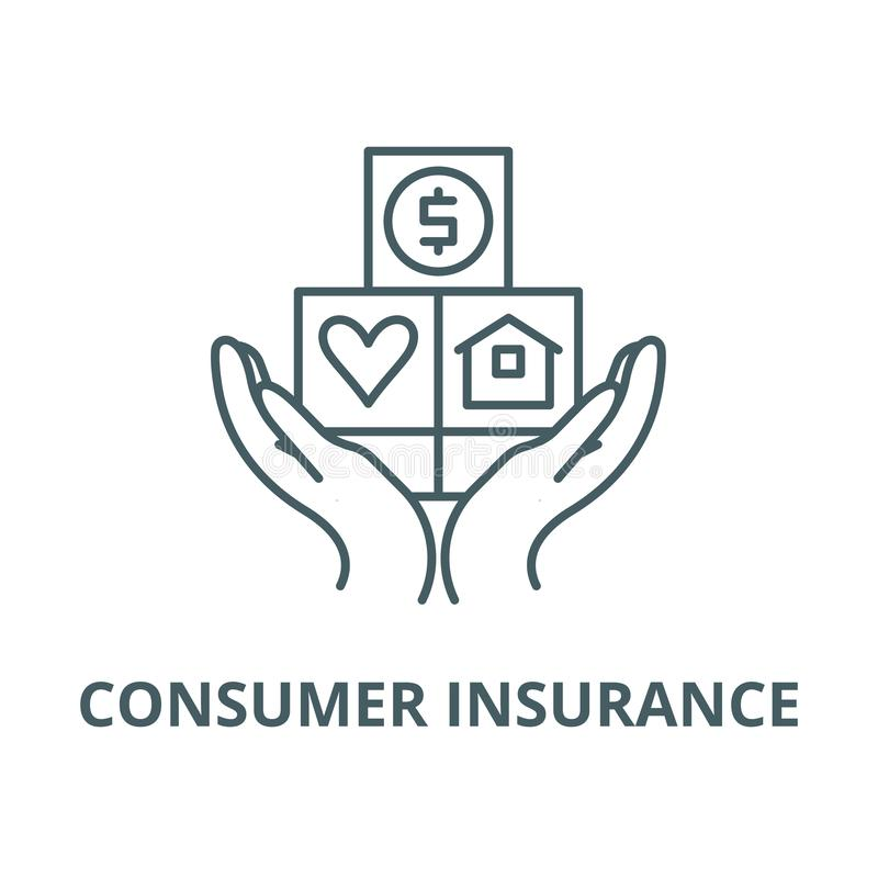 Consumer insurance line icon, vector. Consumer insurance outline sign, concept symbol, flat illustration royalty free illustration