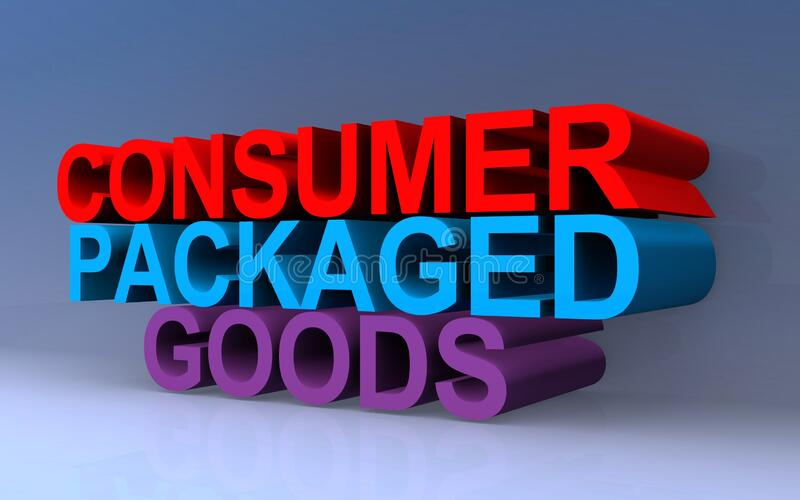 Consumer packaged goods. On blue vector illustration