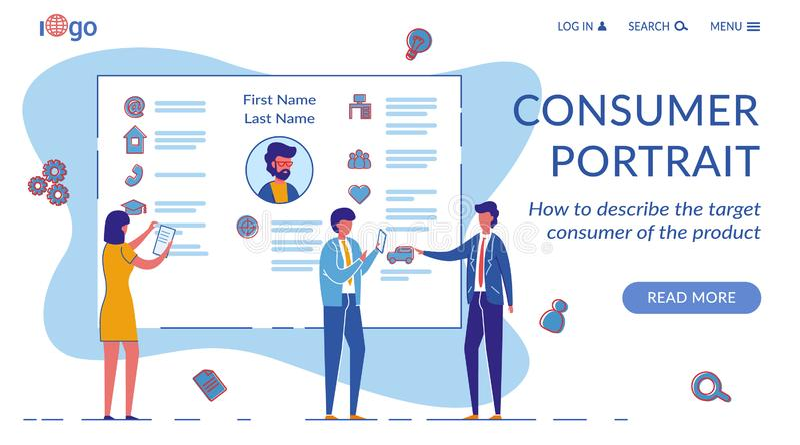 Consumer Portrait Vector Landing Page Template 向量例证