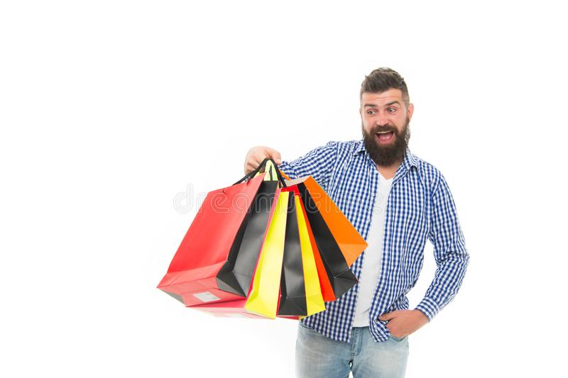 Consumer protection concept. Man happy consumer hold shopping bags. Buy and sell. Consumer protection laws ensure rights stock photo