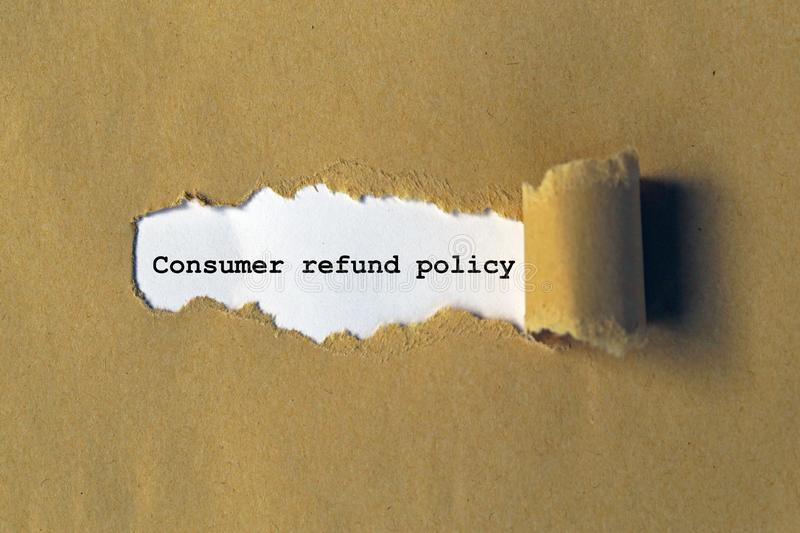Consumer refund policy. On white paper stock photography