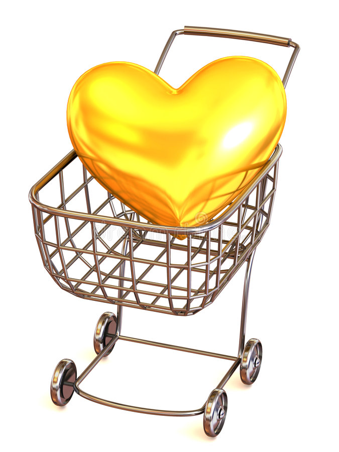 Consumer's basket with Heart vector illustration