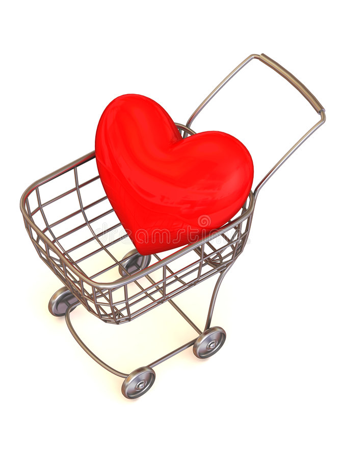 Consumer's basket with Heart. stock illustration