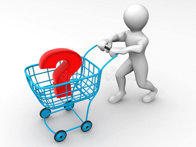 Consumer's basket with question stock illustration