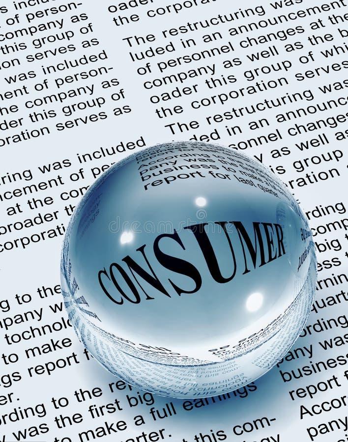Consumer word in newspaper stock illustration