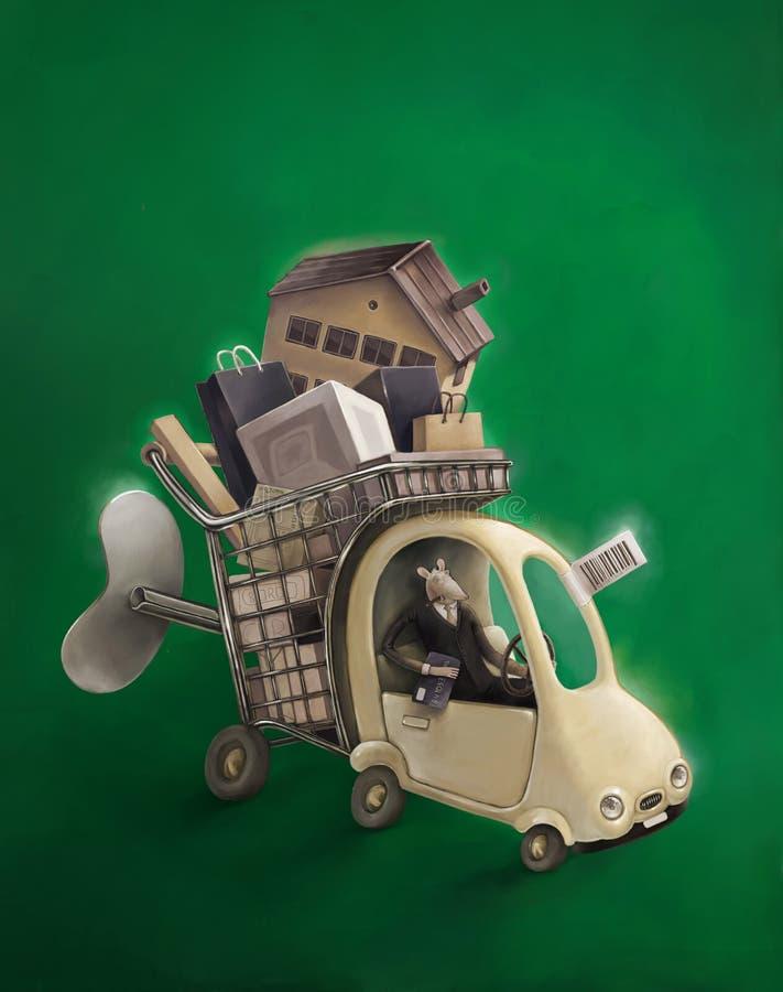 Consumerism- och förbrukningspassion stock illustrationer