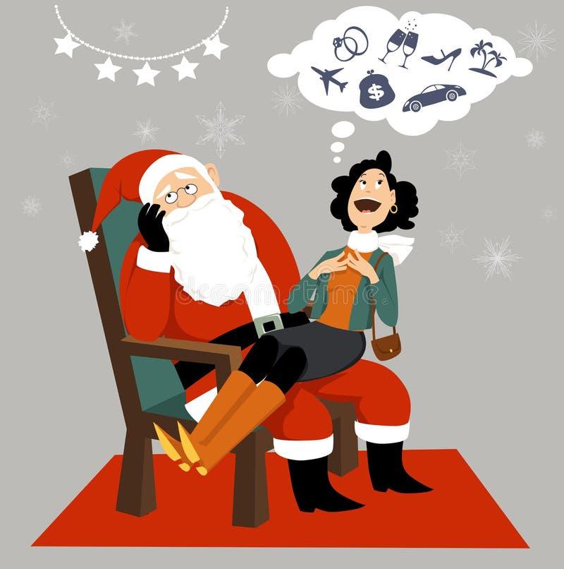 Consumerismo y la Navidad stock de ilustración