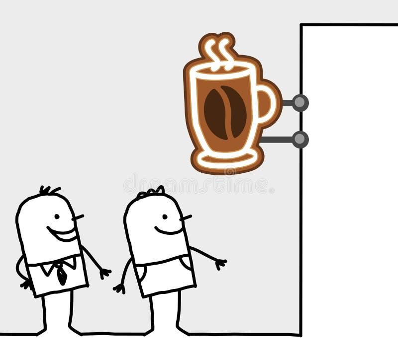 Consumers & Shop Sign - Coffee Break Stock Photos