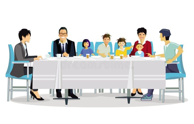 Consumición con la familia ilustración del vector