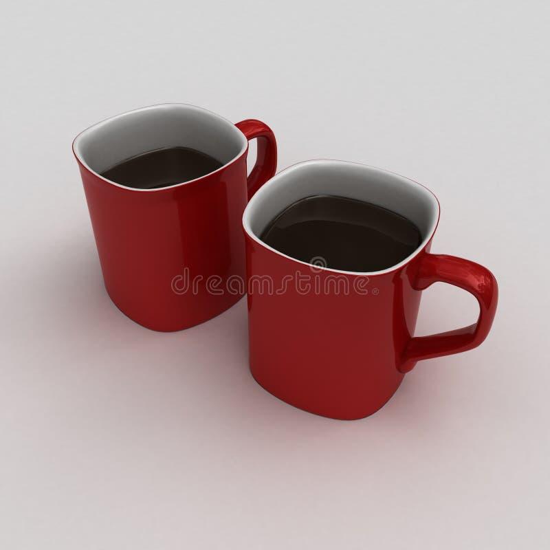 Consumición de una taza caliente de chocolate caliente o de coffe foto de archivo libre de regalías