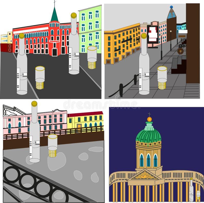 Consumición en St Petersburg ilustración del vector