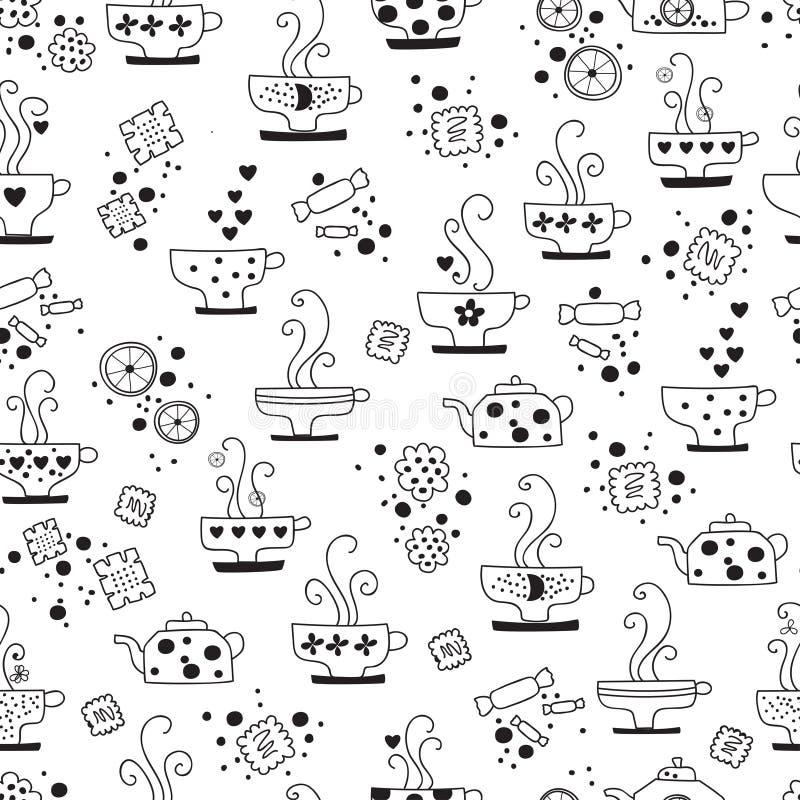 Consumición inconsútil del modelo del monocromo del té stock de ilustración