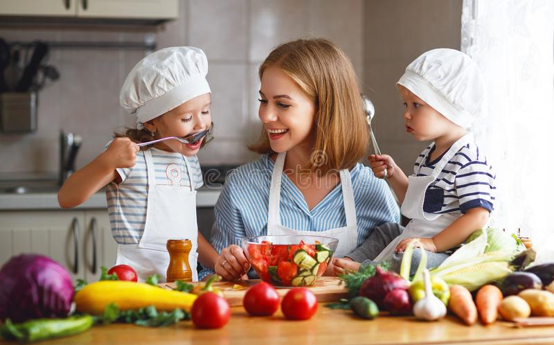 Consumición sana La madre y los niños felices de la familia prepara la ensalada vegetal imagen de archivo