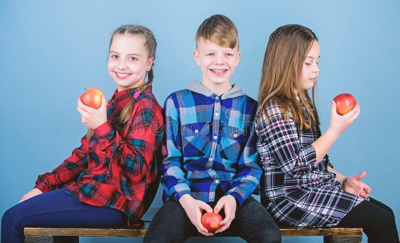 Consumici?n buena y el sentirse bien Peque?os muchachas felices y muchacho que sostienen manzanas rojas Ni?os felices que comen y fotografía de archivo