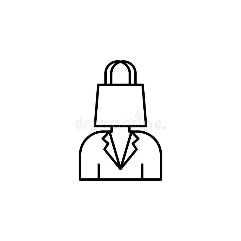 Consumidor, icono del bolso de compras Elemento de la línea icono del comportamiento de consumidor stock de ilustración