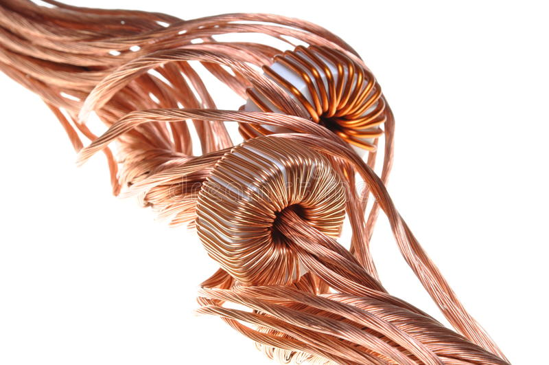Consumo de potência na indústria, na linha de cobre e na bobina fotos de stock