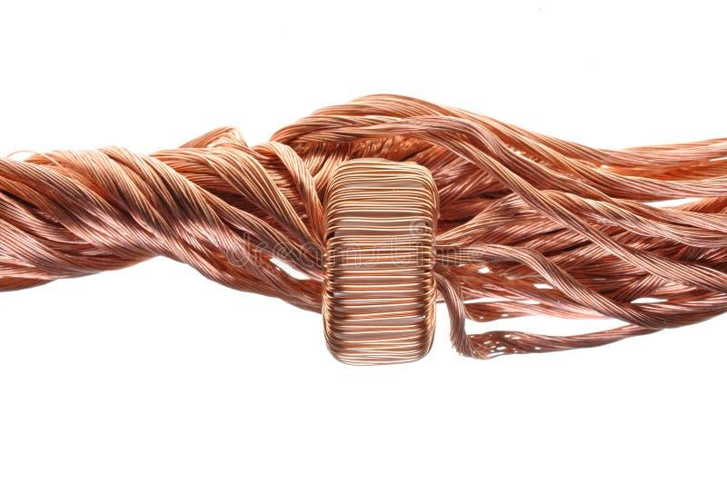 Consumo de potência na indústria, na linha de cobre e na bobina fotografia de stock royalty free