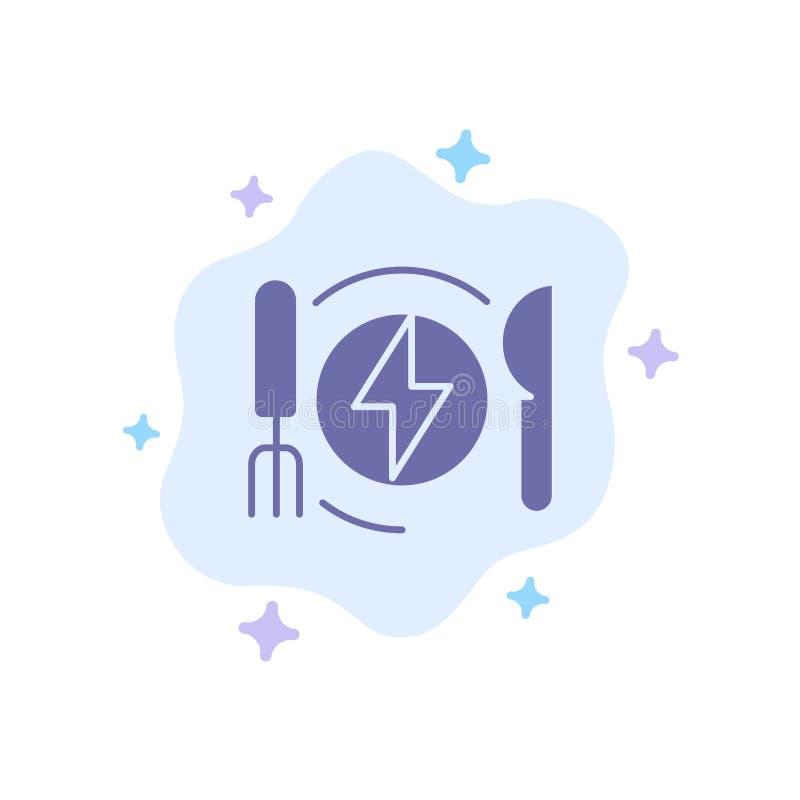Consumo, energia, jantar, ícone azul do hotel no fundo abstrato da nuvem ilustração stock