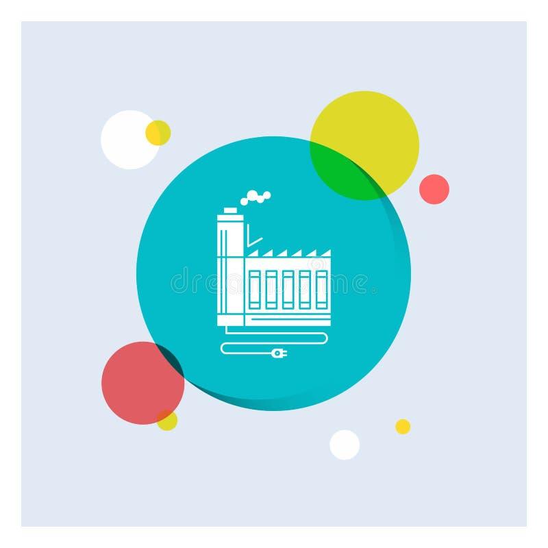 Consumptie, middel, energie, fabriek, kleurrijke de Cirkelachtergrond van het productie Witte Glyph Pictogram vector illustratie