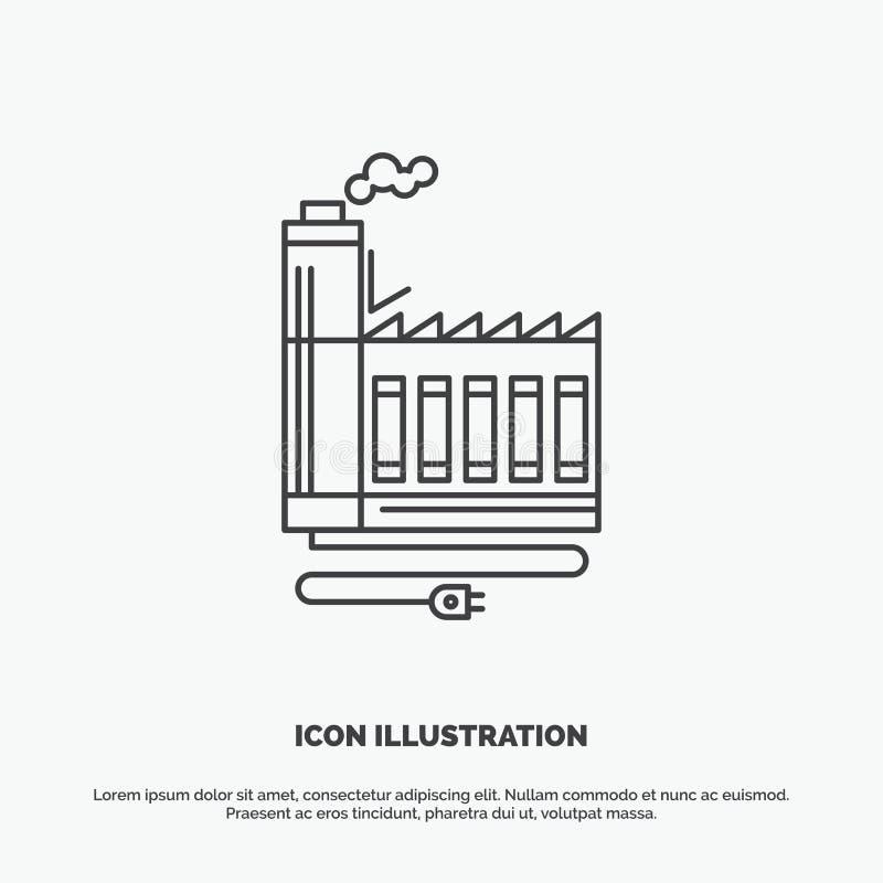 Consumptie, middel, energie, fabriek, productiepictogram Lijn vector grijs symbool voor UI en UX, website of mobiele toepassing vector illustratie
