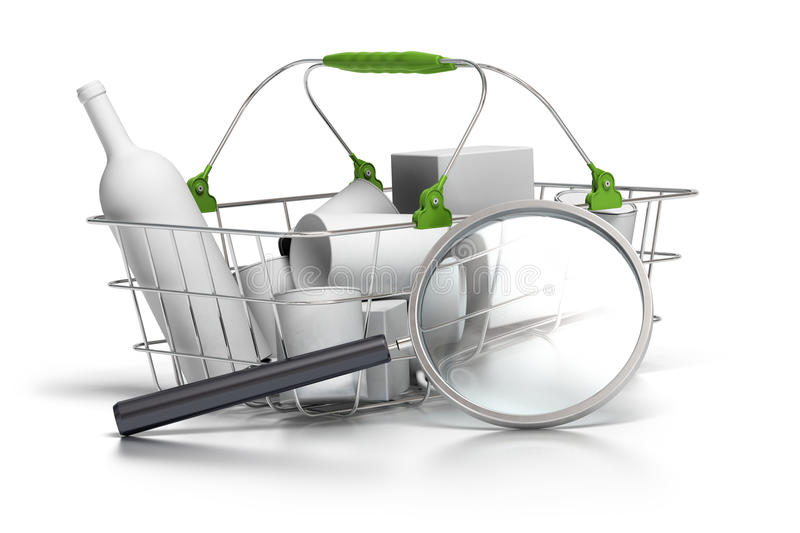 Consumption analysis. Average basket with a magnifying glass in front of it, concept of consumption analyst royalty free illustration